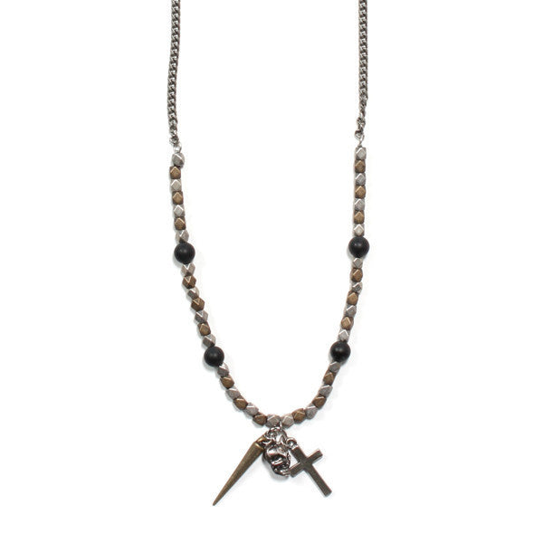 Moto Draco Triple Charm Necklace in Black and Silver