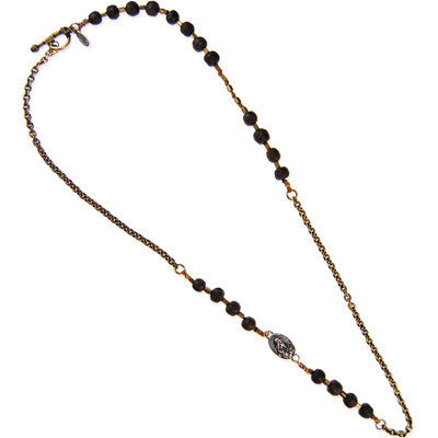Silver Mary Protection Charm Rudrani and Brass Chain Necklace