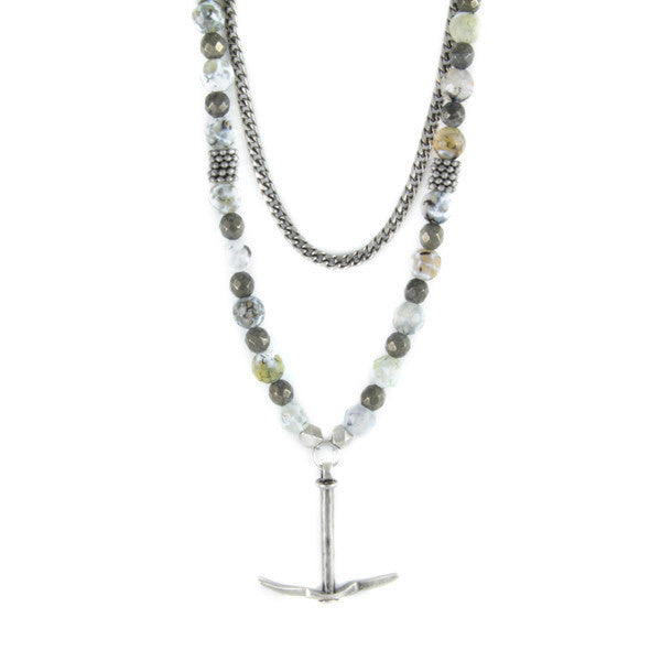 Silver Pick Charm and Faceted Glass Beads Chain Necklace