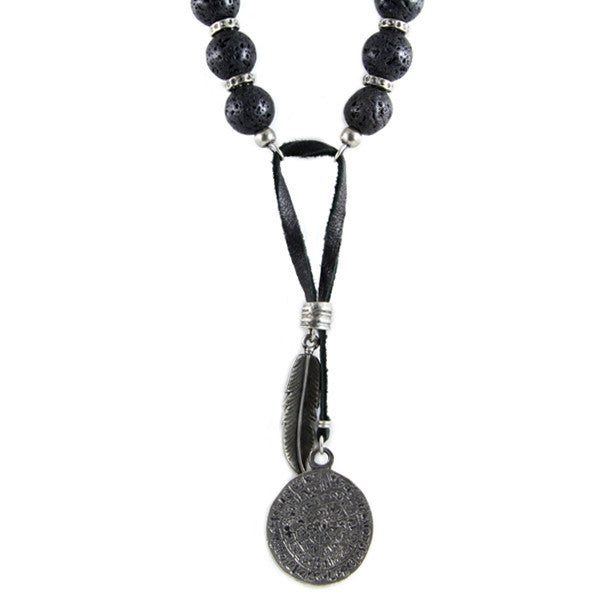 Combination Lava Beads Donut Rings Necklace with Phaistos Coin and Feather Pendant Charm