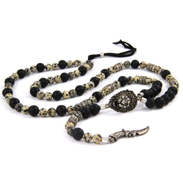 3 of a Kind Bead Combination Necklace with Lion Head and Saber Charm