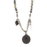 Dalmatian and Lava Bead Round Beads Necklace with Phaistos Coin, Shield, and Dagger Necklace