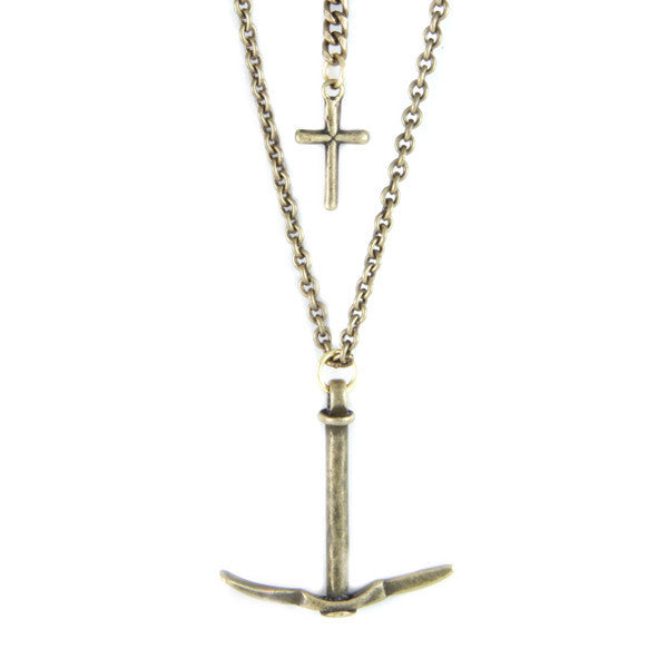 Brass Pick and Cross Chain Necklace