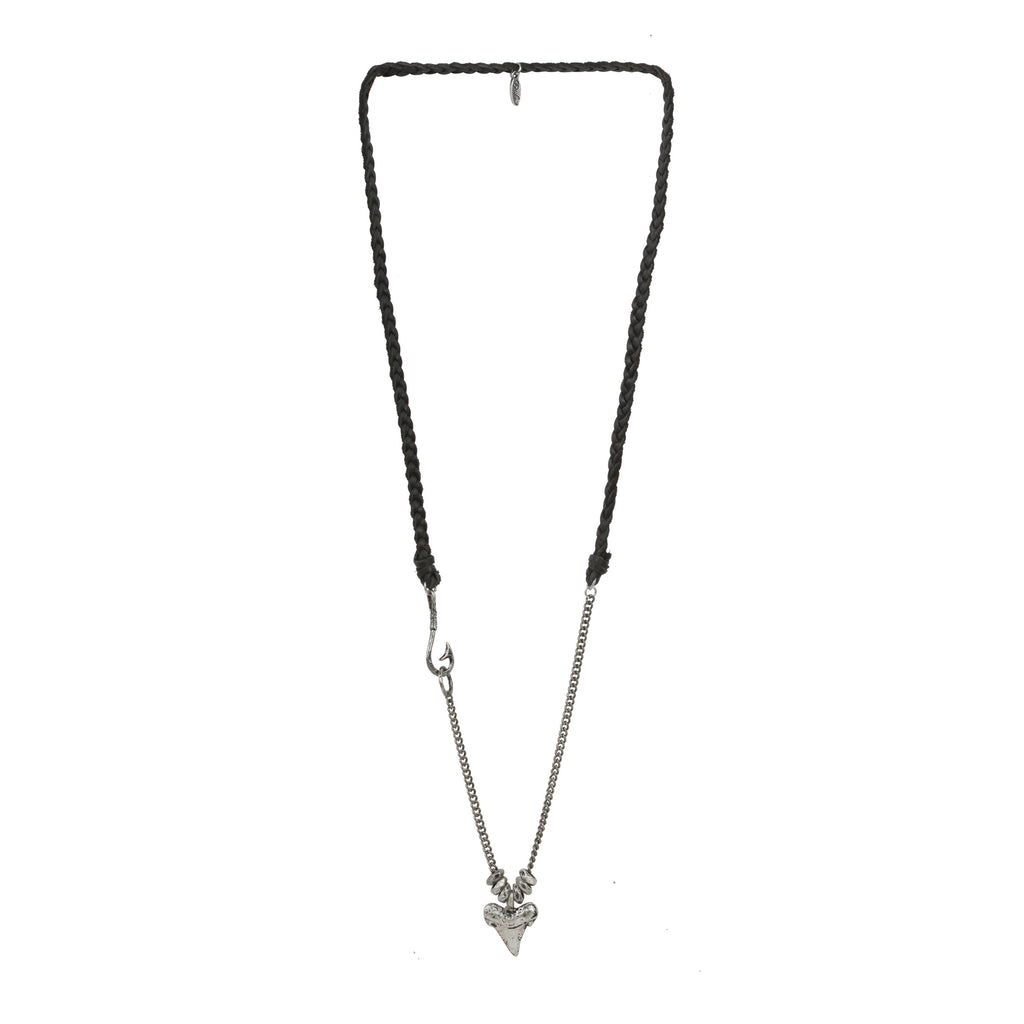 Dem Bones Necklace in Black and Antique Silver