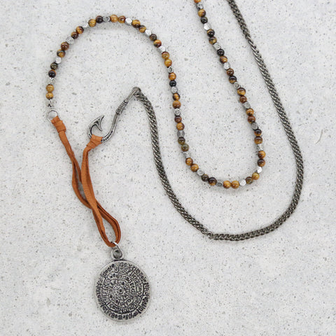 No Stone Unturned Necklace in Tiger's Eye and Antique Silver