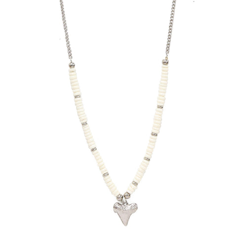 Depths of Tambora Necklace in White and Silver Ox