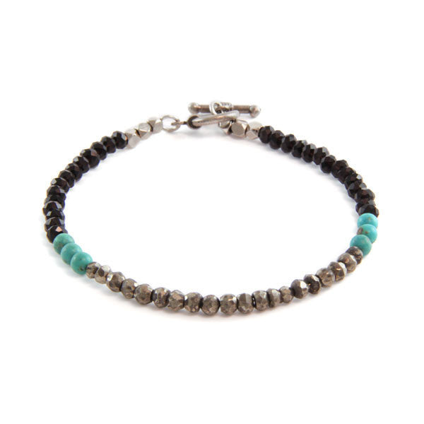 Faceted Black Crystal with Two Clustered Round Turquoise Semi Precious Stones with Mini Toggle Closure