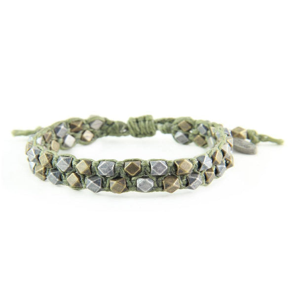 Mens Bracelet - Hungry Wolf Bracelet In Olive And Mixed Metal