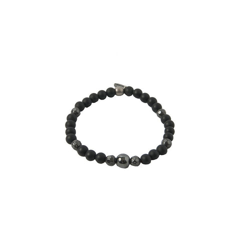 Mens Bracelet - Iron Ire Bracelet In Onyx And Antique Silver