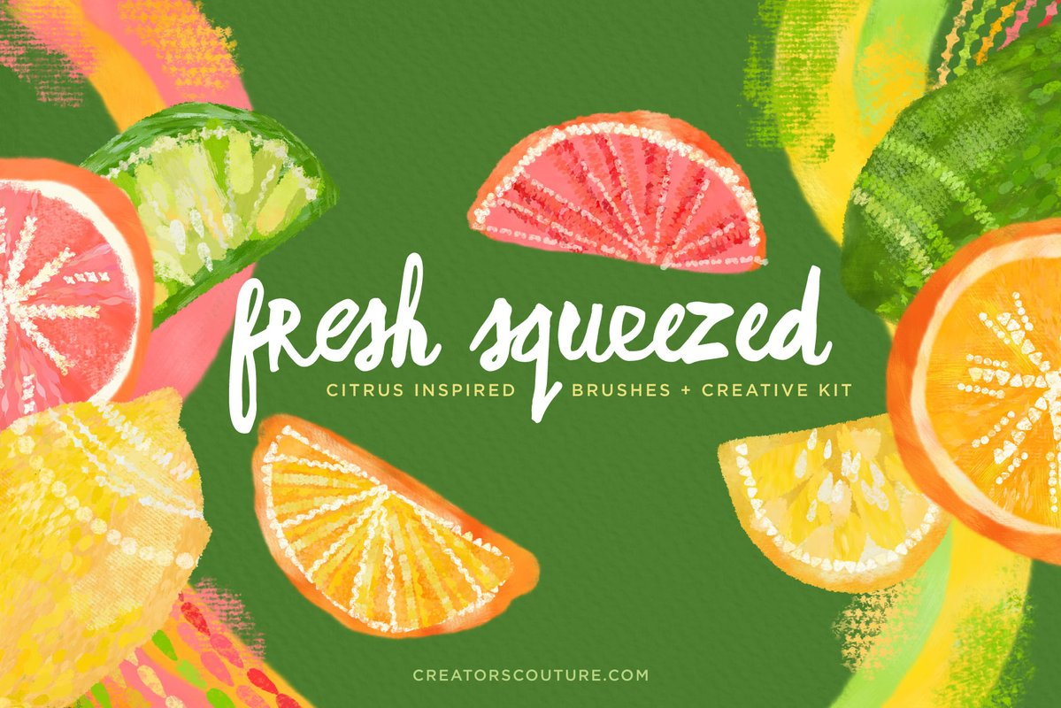 Create Bold & Bright Citrus Surface Pattern Designs & More with Citrus Inspired Photoshop Brushes, Color Palettes, & Clip Art