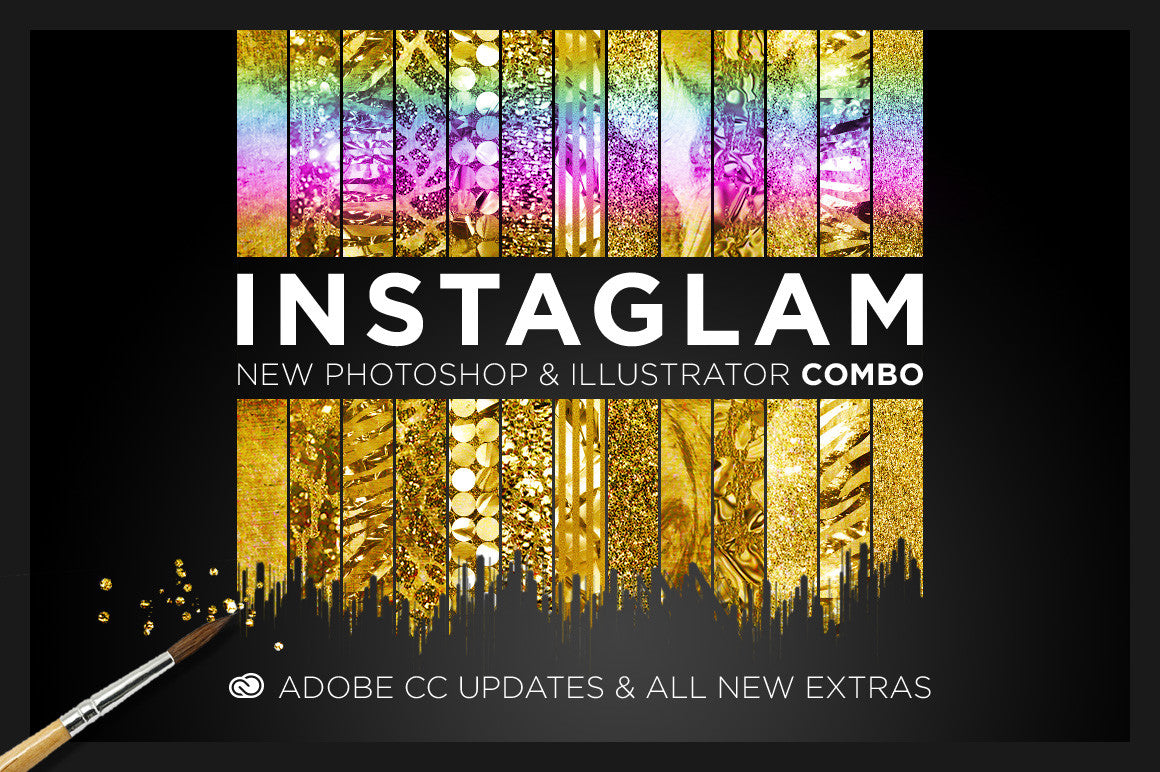 Easy gold and glam effects with the top selling InstaGlam for Photoshop and Illustrator