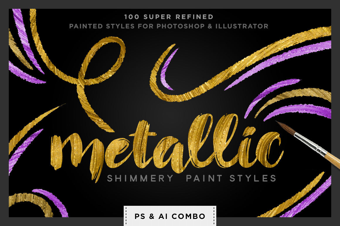 Shimmery Swirls: Metallic Swirly Paint Styles for Photoshop and Illustrator