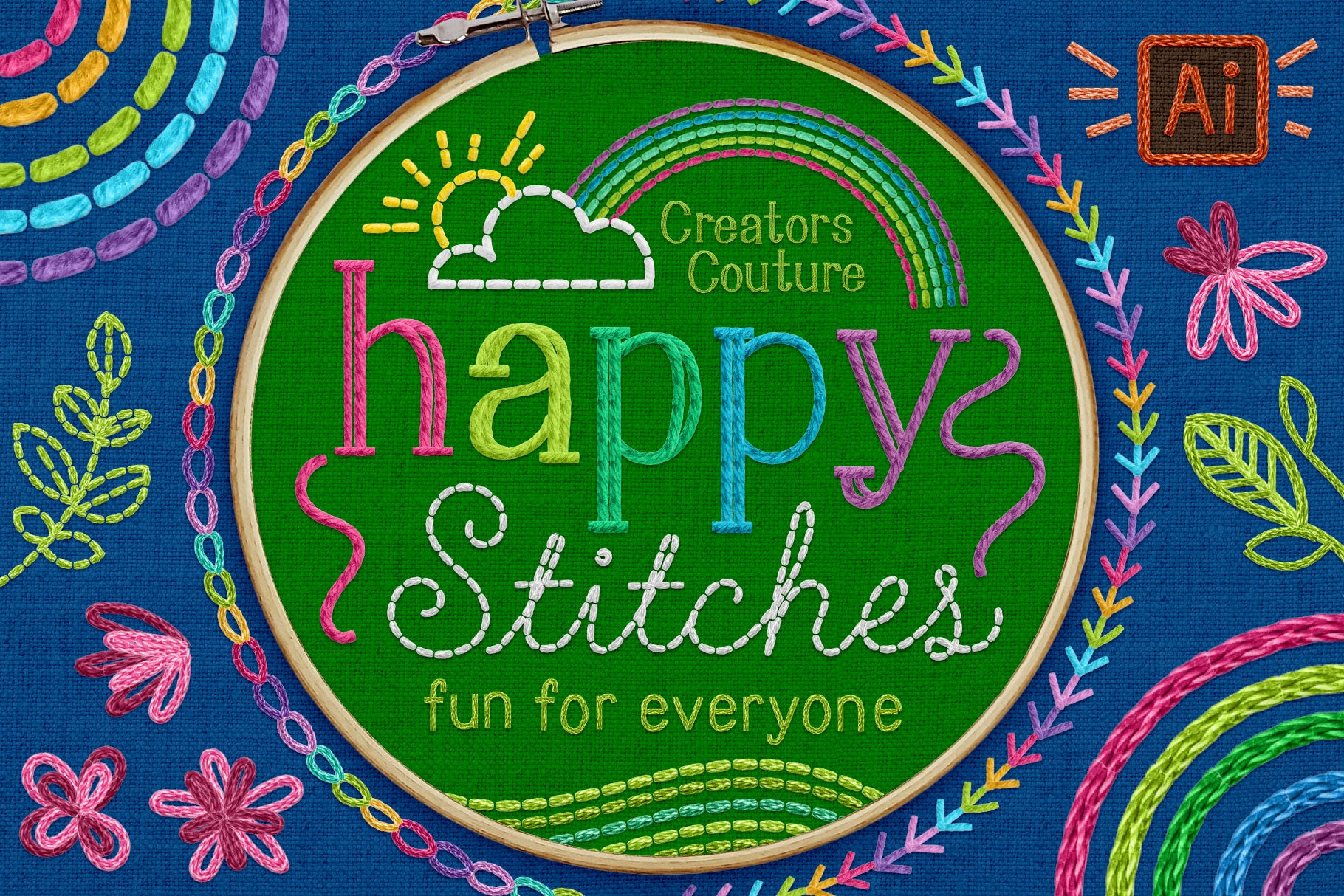 Introducing Happy Stitches! Adobe Illustrator Brushes for a Hand-Embroidered Illustration Effect!