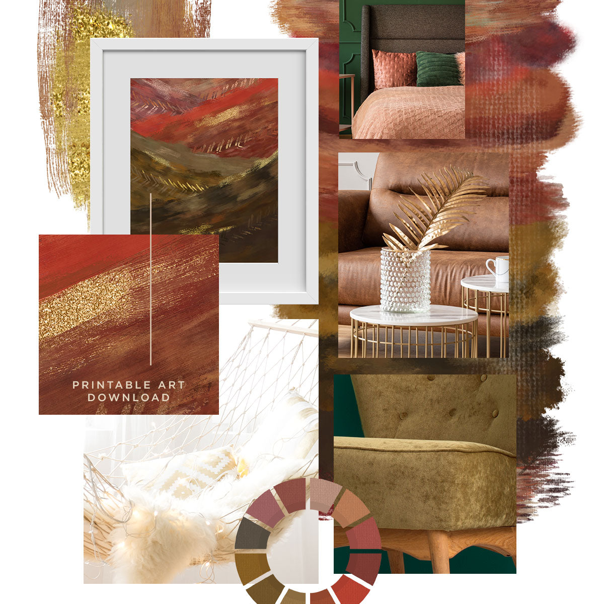 Earthy Mood Board Inspired by 2019 Runway Colors + Template Download