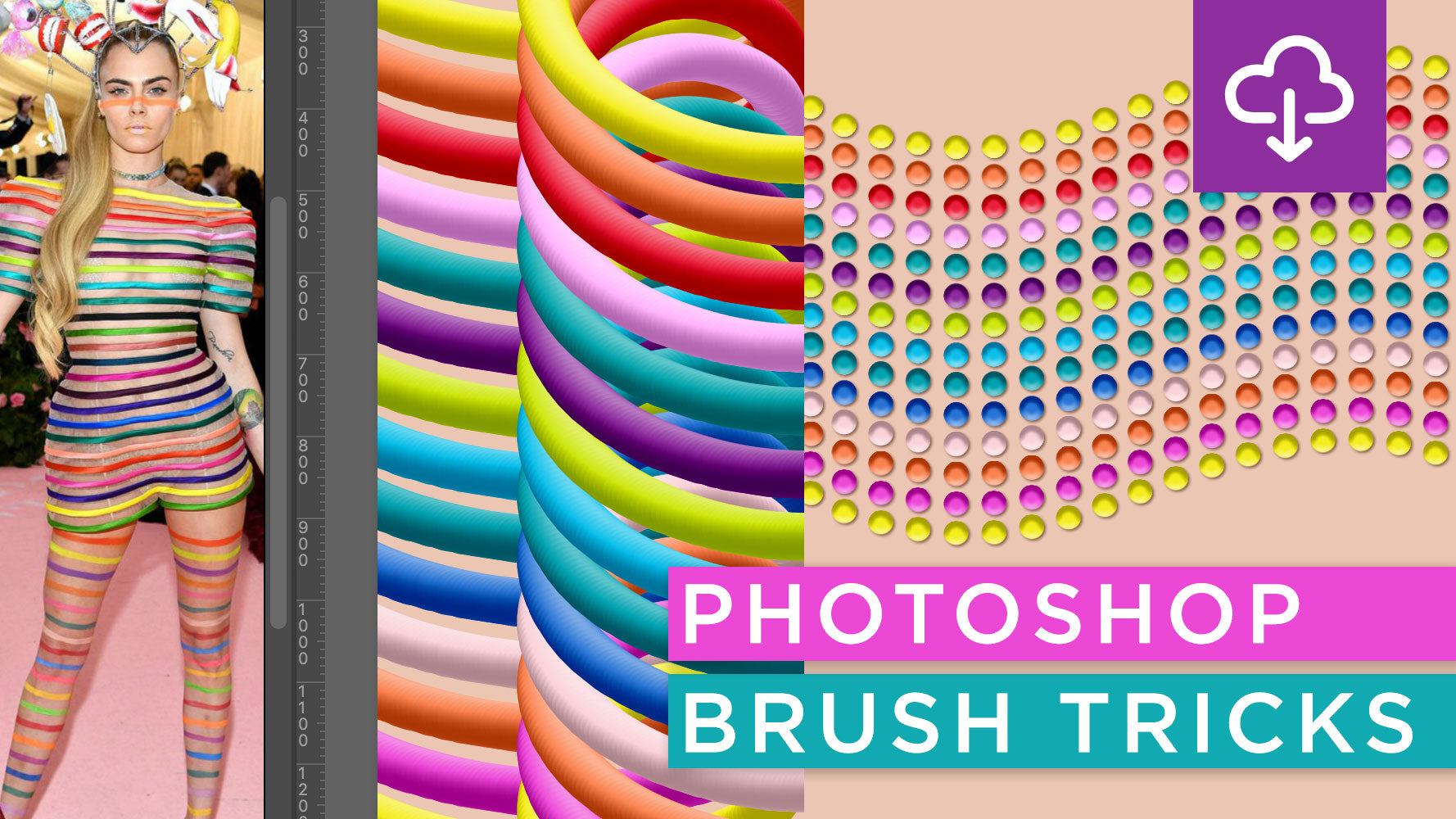 Photoshop Brush Tricks Tutorial: Dimensional Rainbow Brushes Inspired by Met Gala Couture
