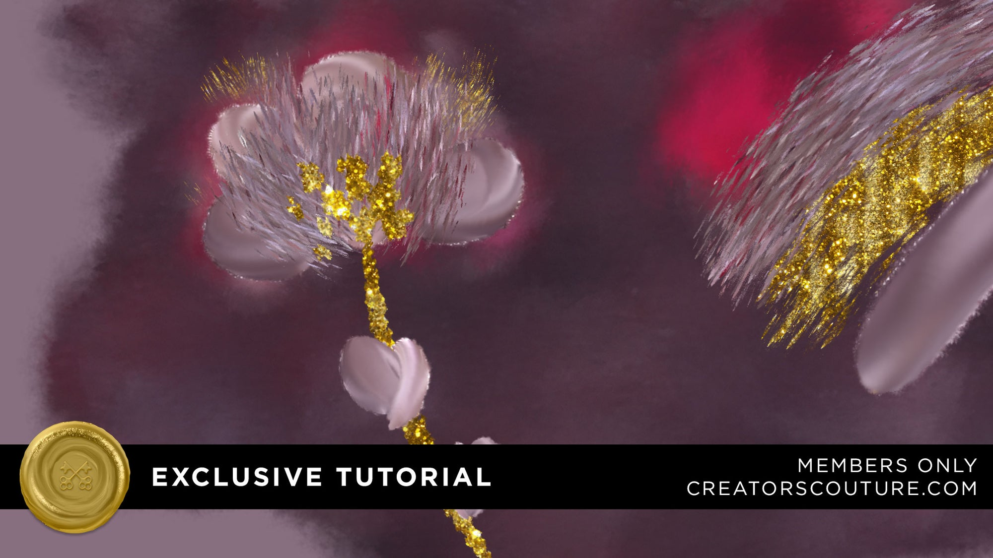 Fantastic Floral Illustrations with Color Mixing Photoshop Brushes | Purple, Red and Gold Drama