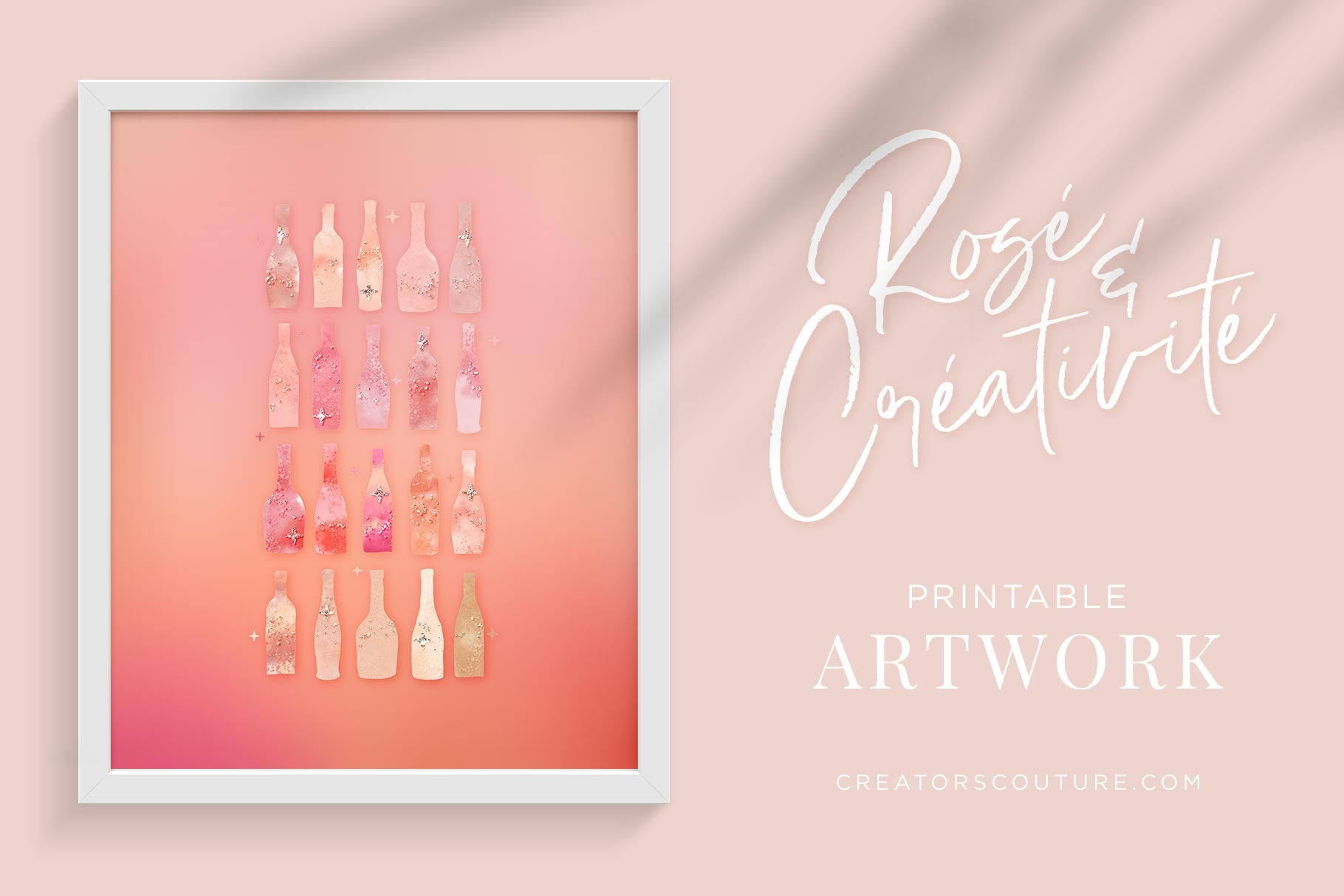 photograph about Free Printable Artwork called No cost Rosé Wine Encouraged Printable Art - Instantaneous Down load