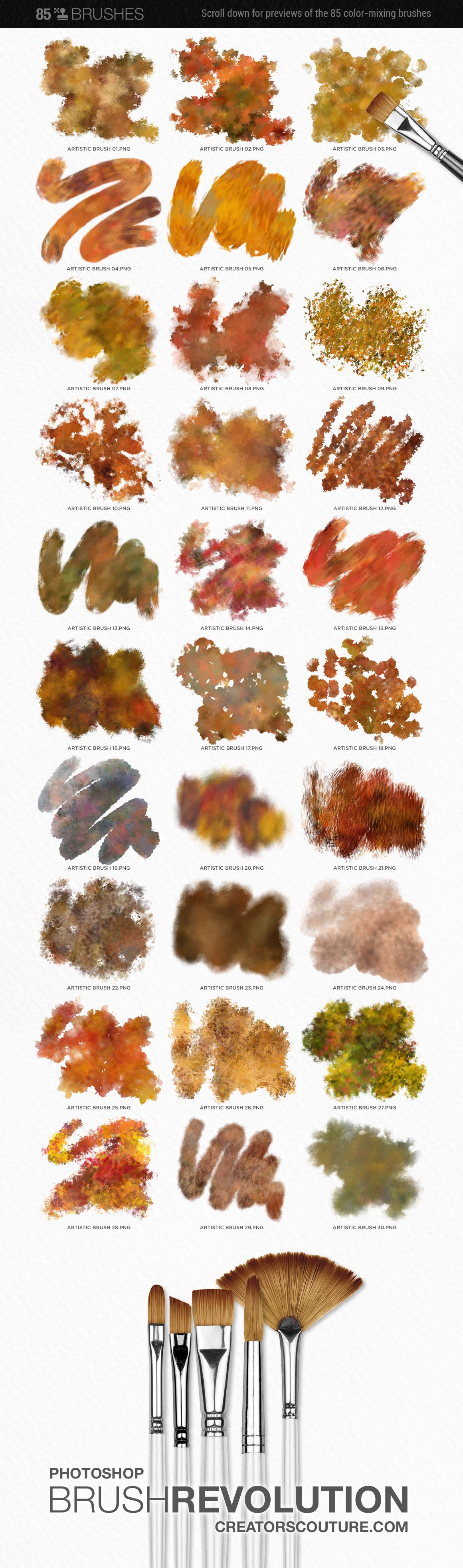 artistic color-blending photoshop brush preview chart