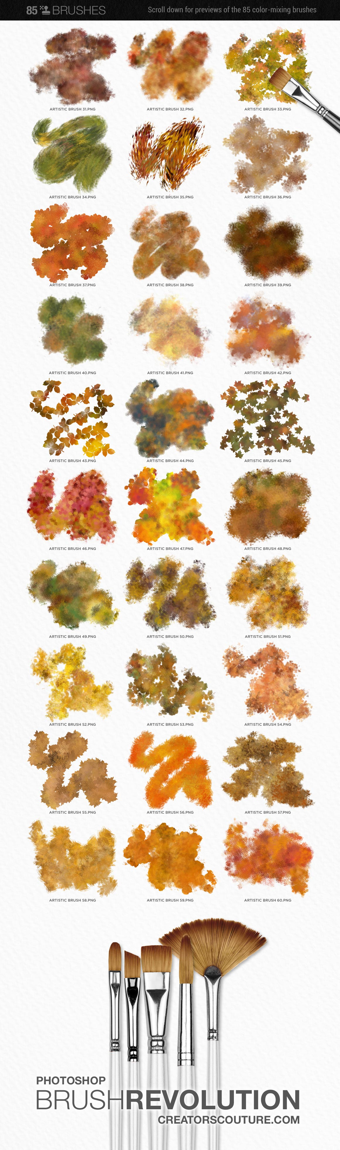 artistic color-blending photoshop brush preview chart 2