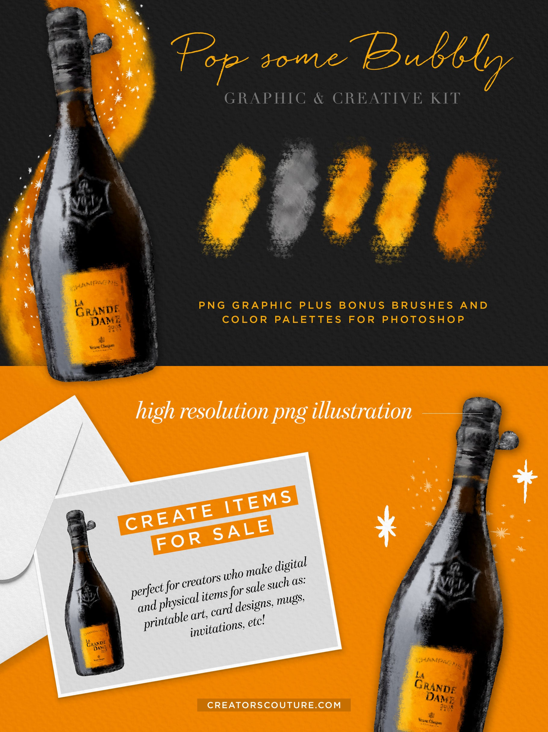 champagne bottle illustration graphic