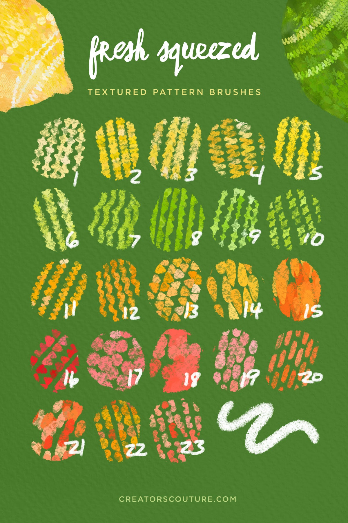 Citrus Illustration & Pattern Photoshop Brush & Color Palette Studio, textured pattern brushes