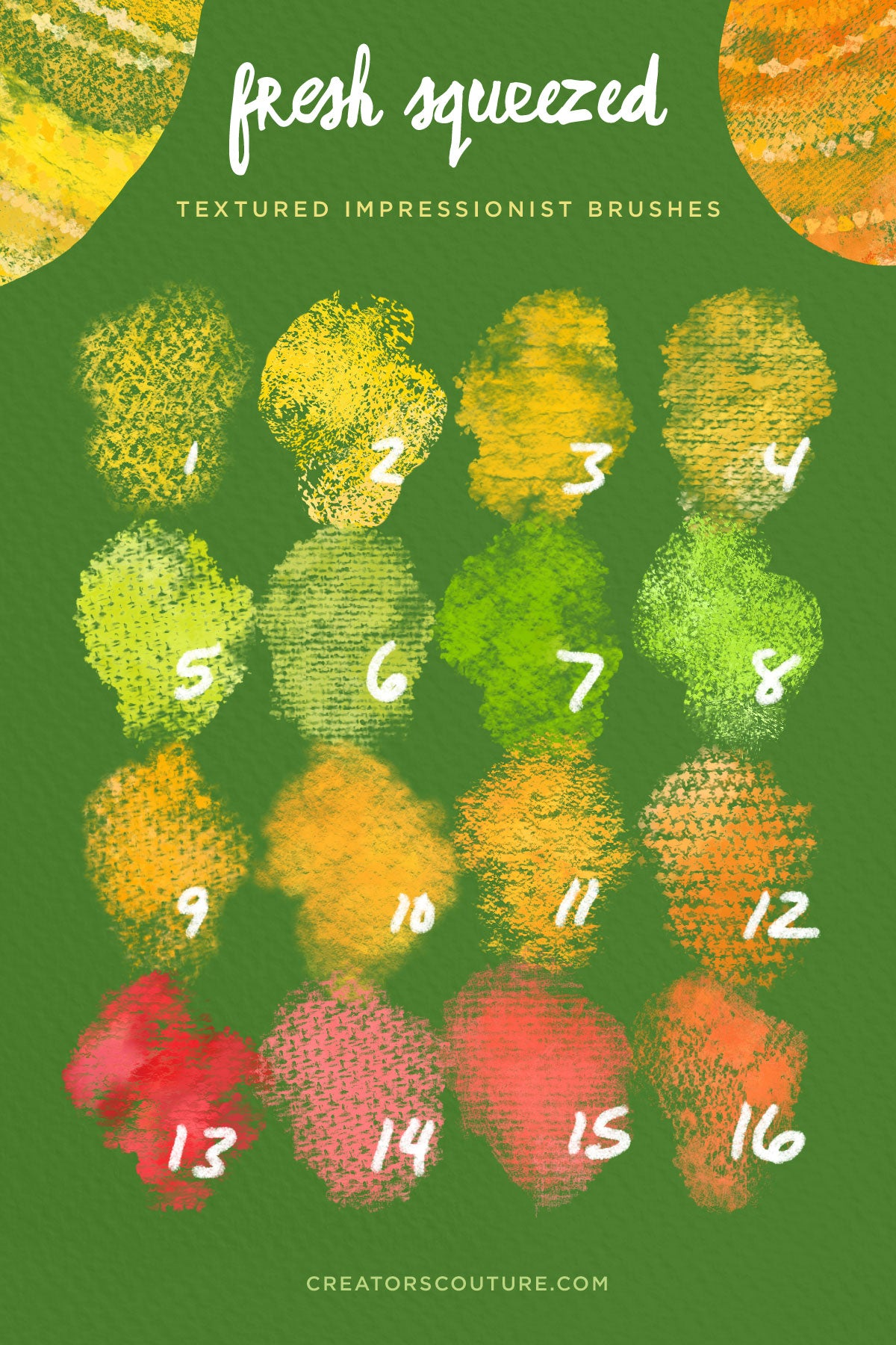 Citrus Illustration & Pattern Photoshop Brush & Color Palette Studio, textured impressionist brushes
