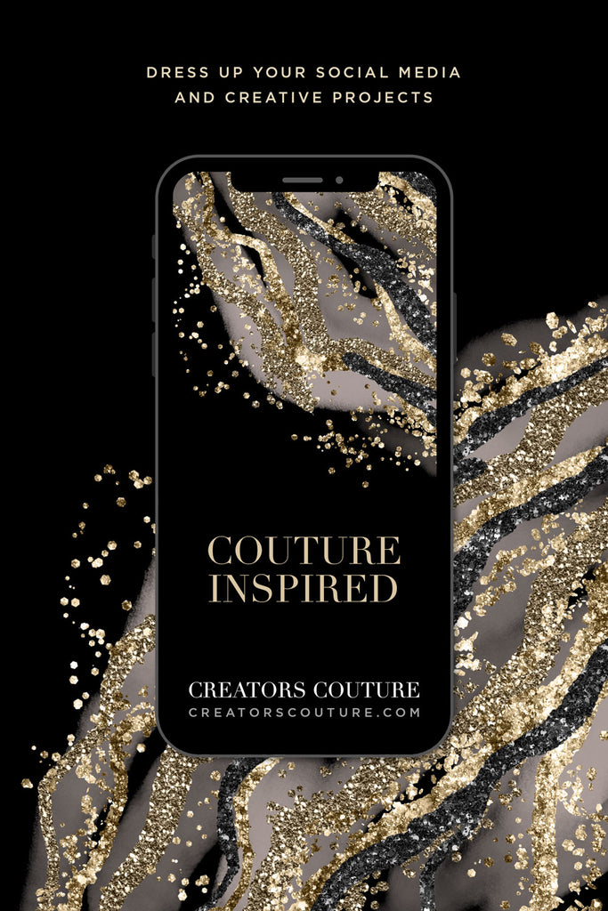 couture inspired digital background gold luxe glitter black