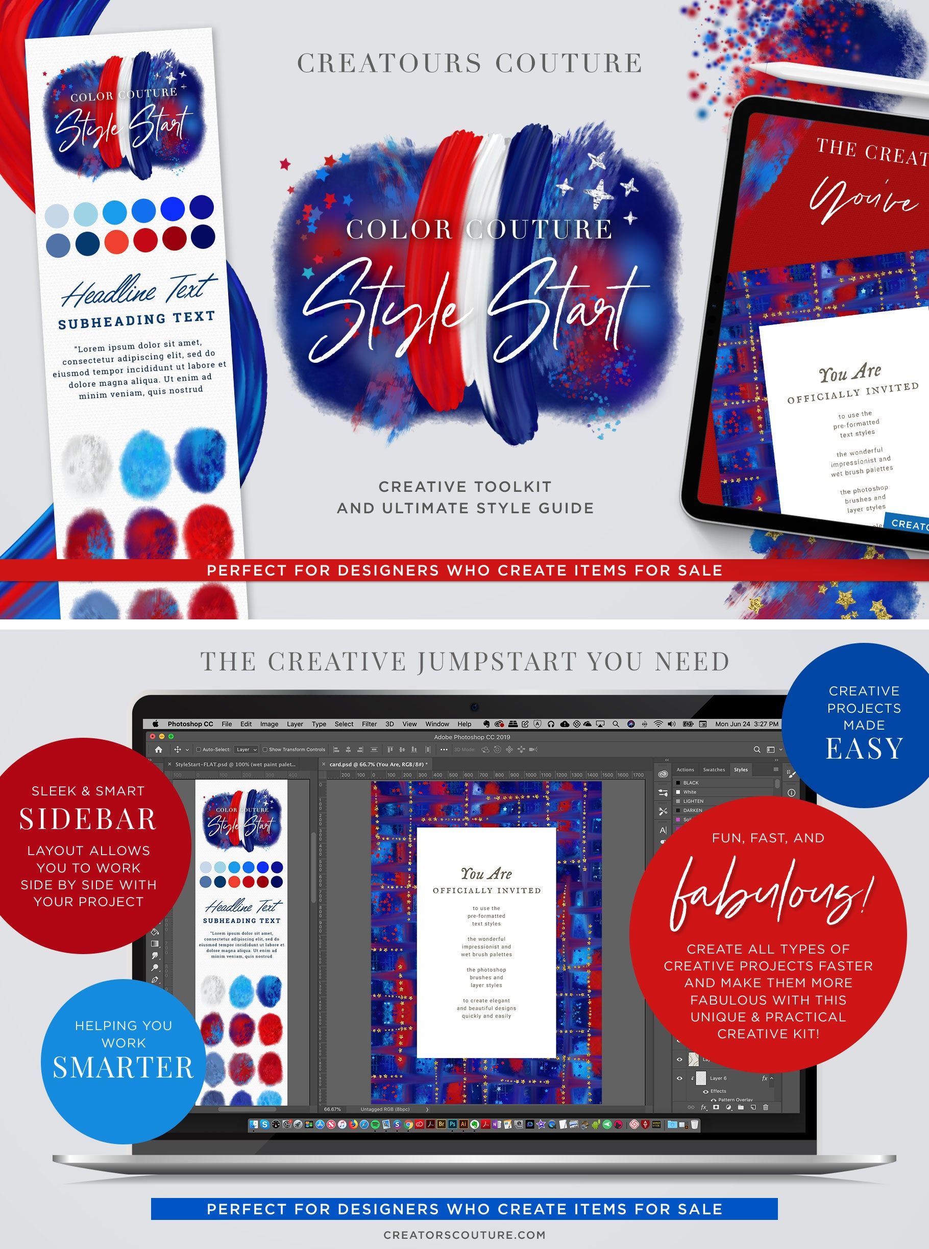 patriotic fourth of july design and clip art kit