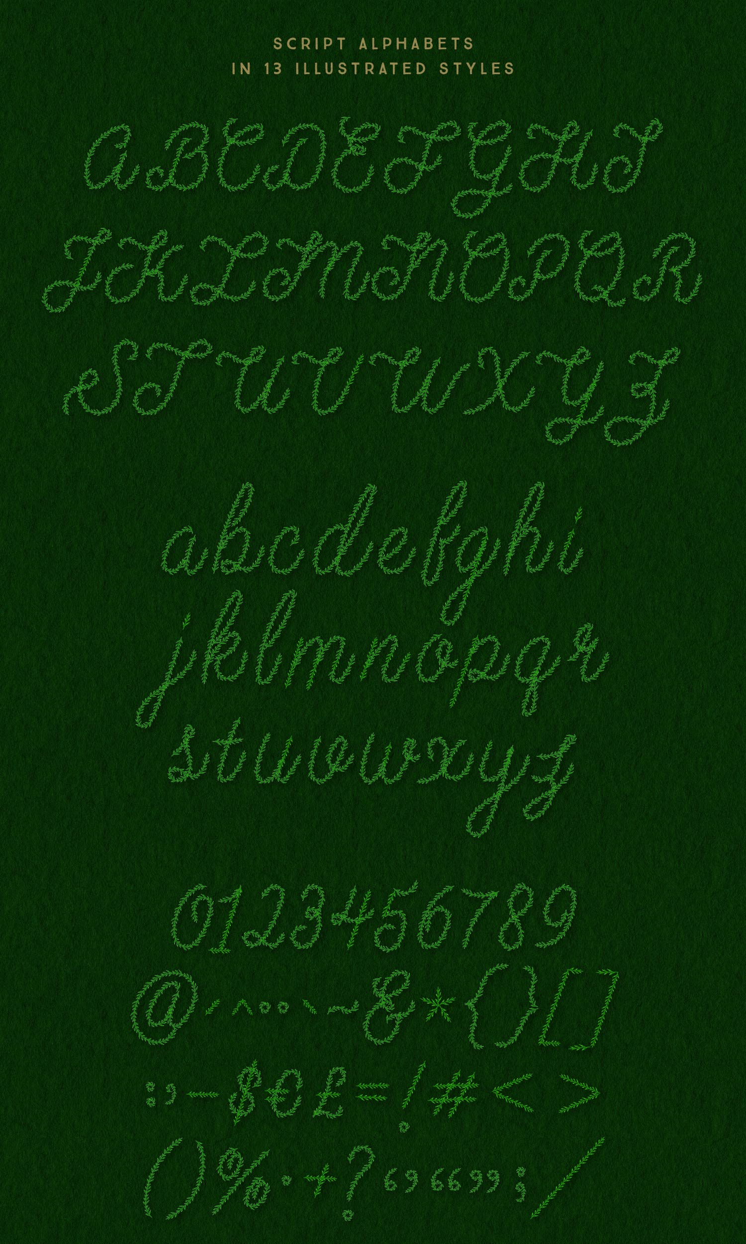 Luxe Holiday Greenery Alphabets lettering style 2