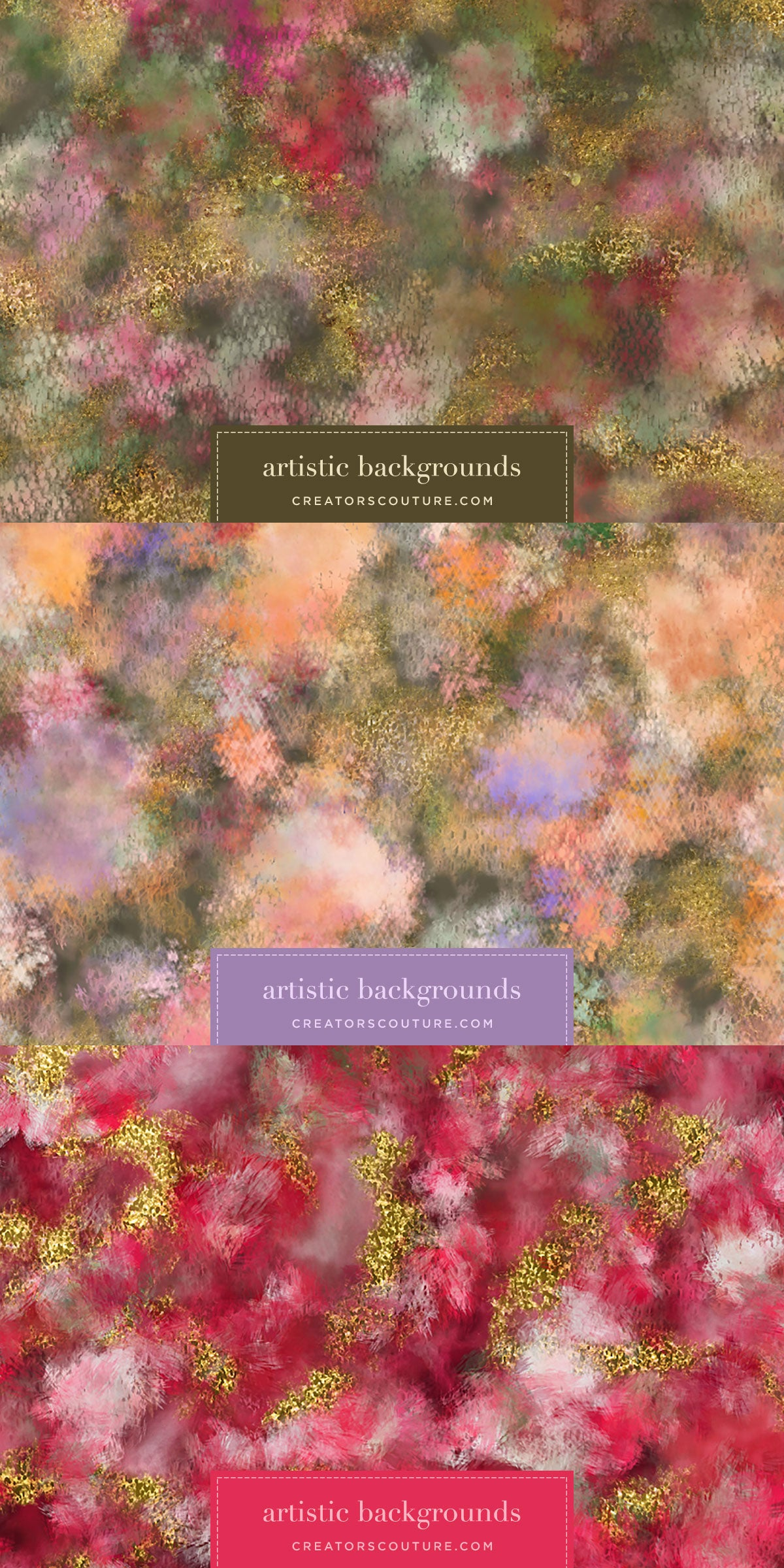 Abstract Watercolor Floral & Painted Tulle Digital Papers, preview image 2