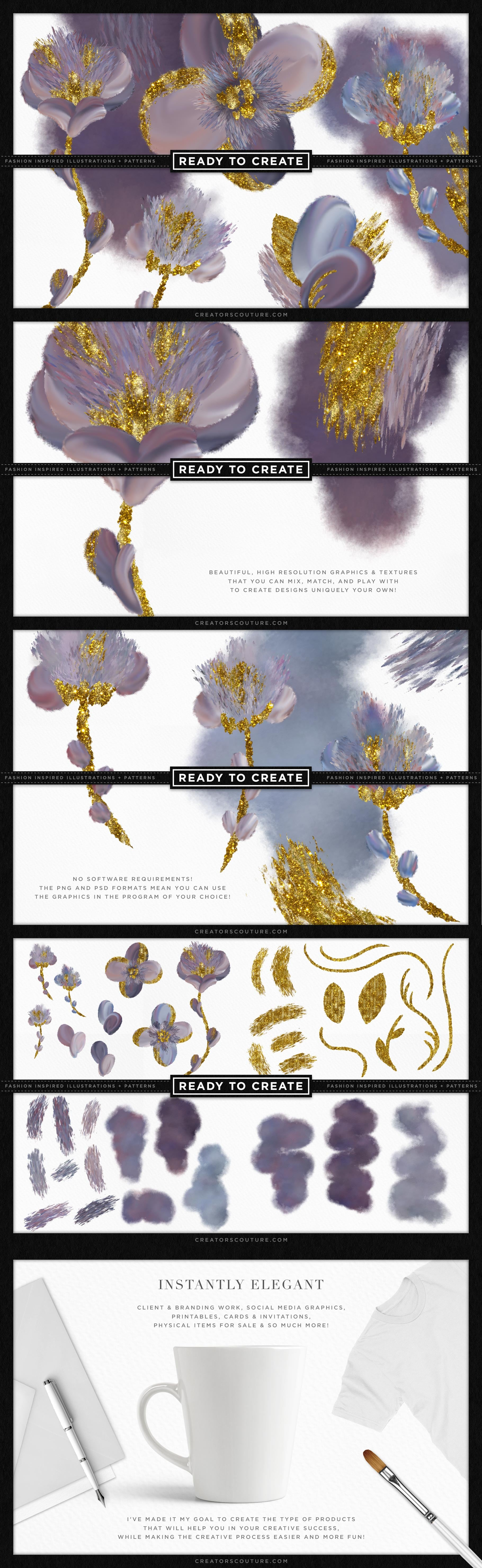 Sensational Sky Flower Illustrations with Wet Gold Accent 5