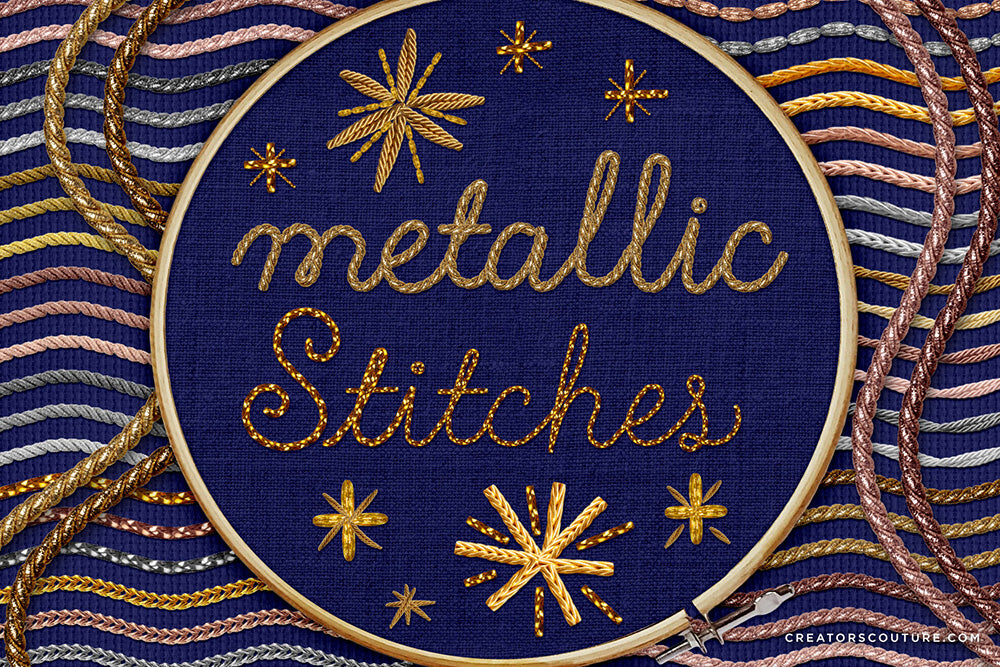 metallic embroidery stitches adobe illustrator brushes