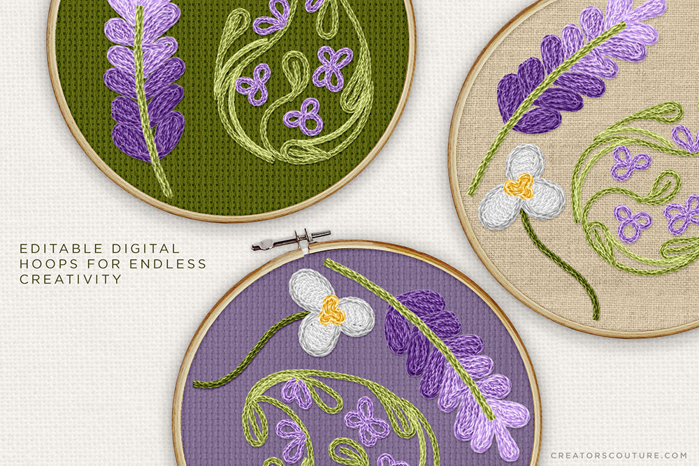 editable digital hoops for embroidery effect