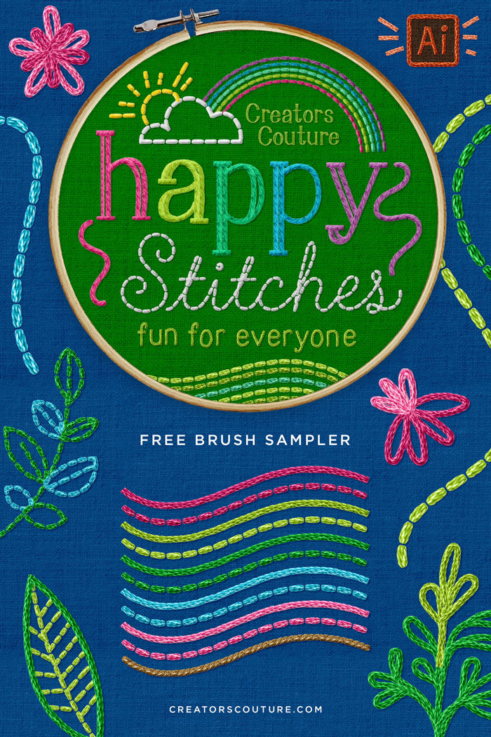 free digital hand embroidery brushes for illustrator