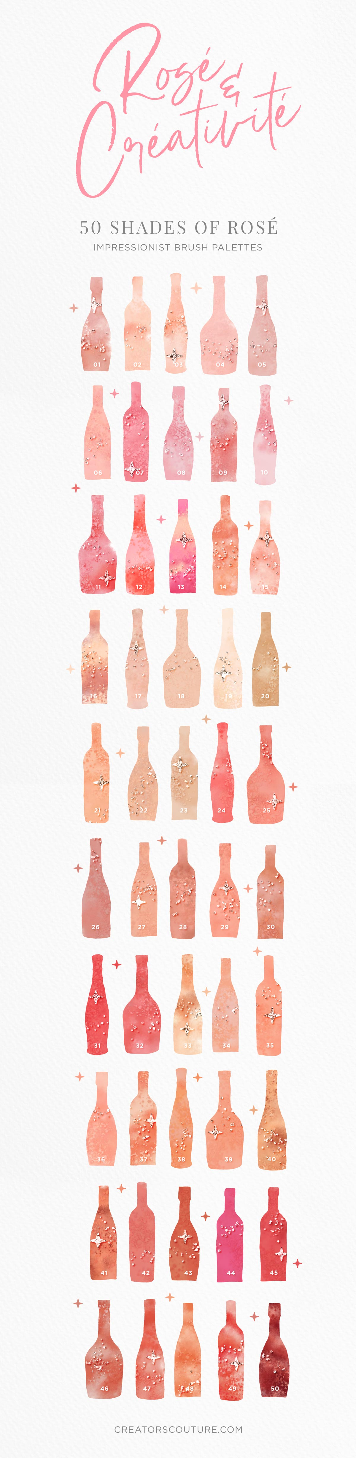 Rosé wine themed Color Palette & Color-Blending Brush Collection, color palette previews