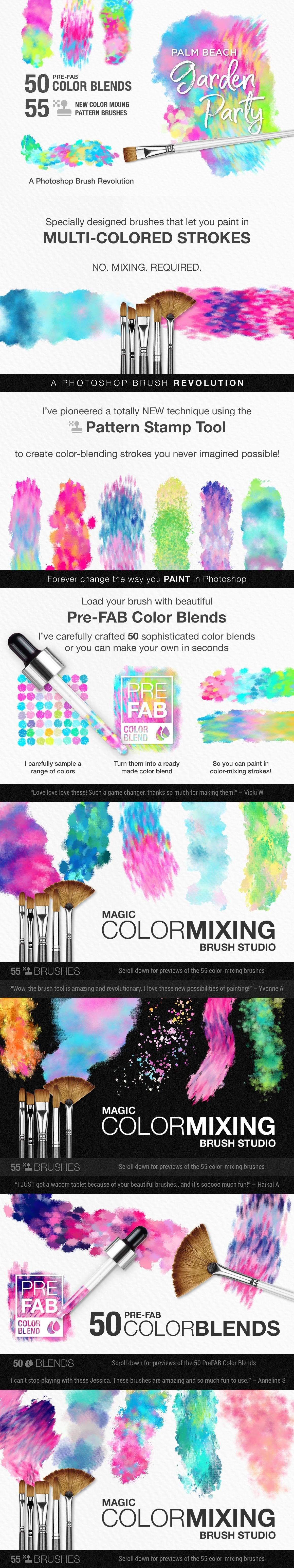 Palm Beach Garden Party Color-Blending Watercolor Photoshop Brushes preview image 5