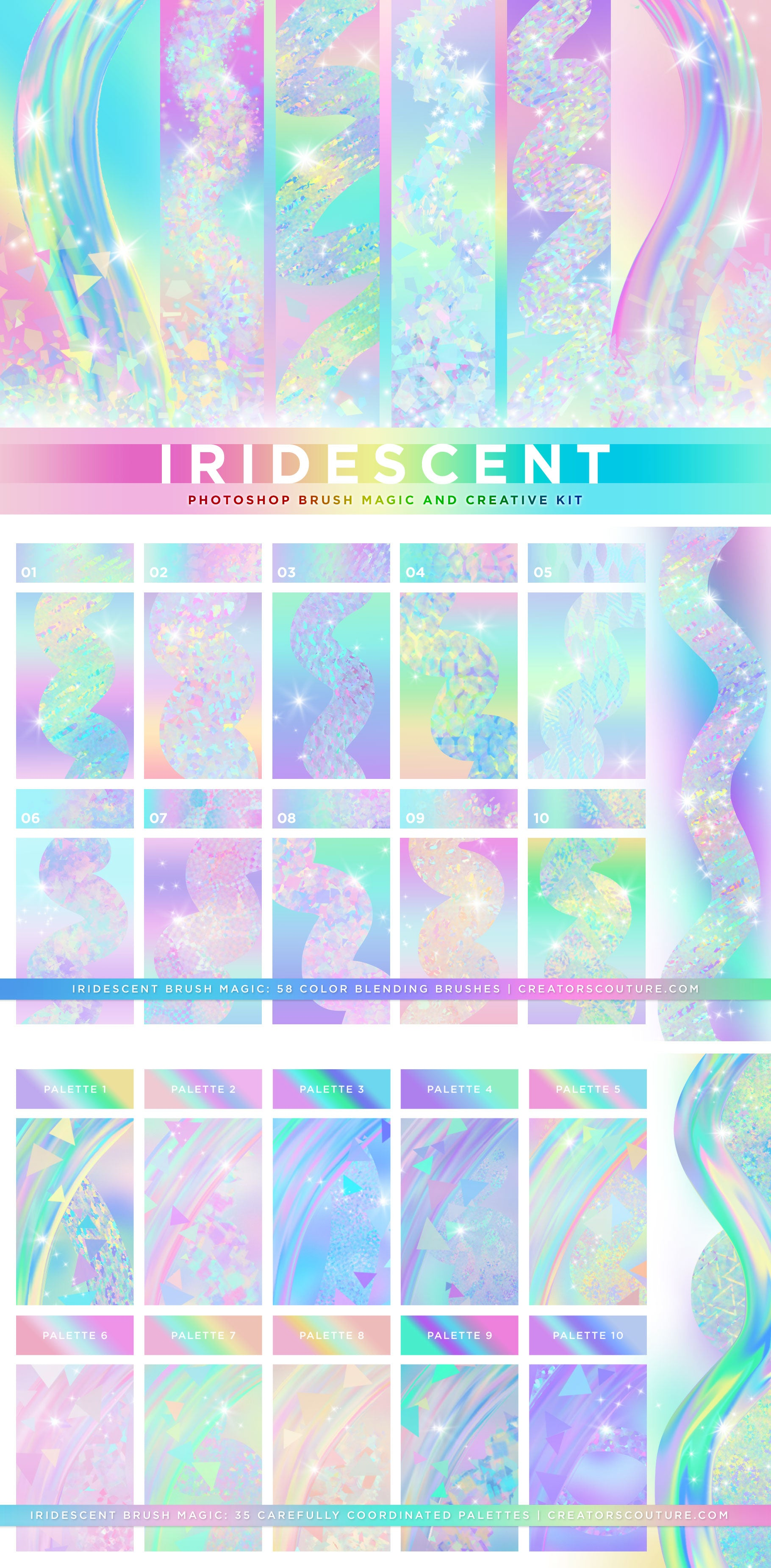 Iridescent & Holographic Photoshop Brushes, Color Palettes, & Effects preview graphic
