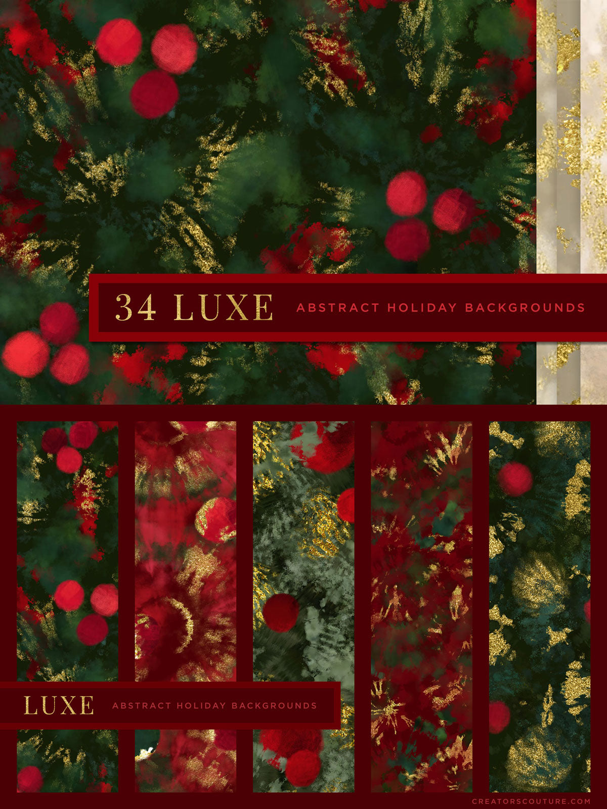 luxe christmas holiday painted backgrounds preview sheet 1