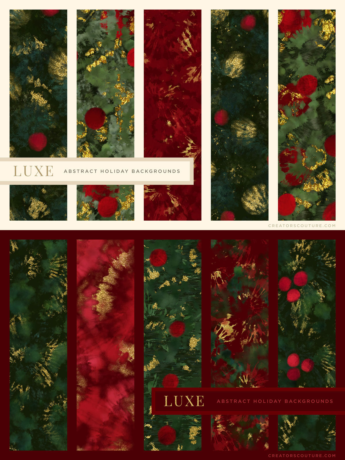 luxe christmas holiday painted backgrounds preview sheet 2