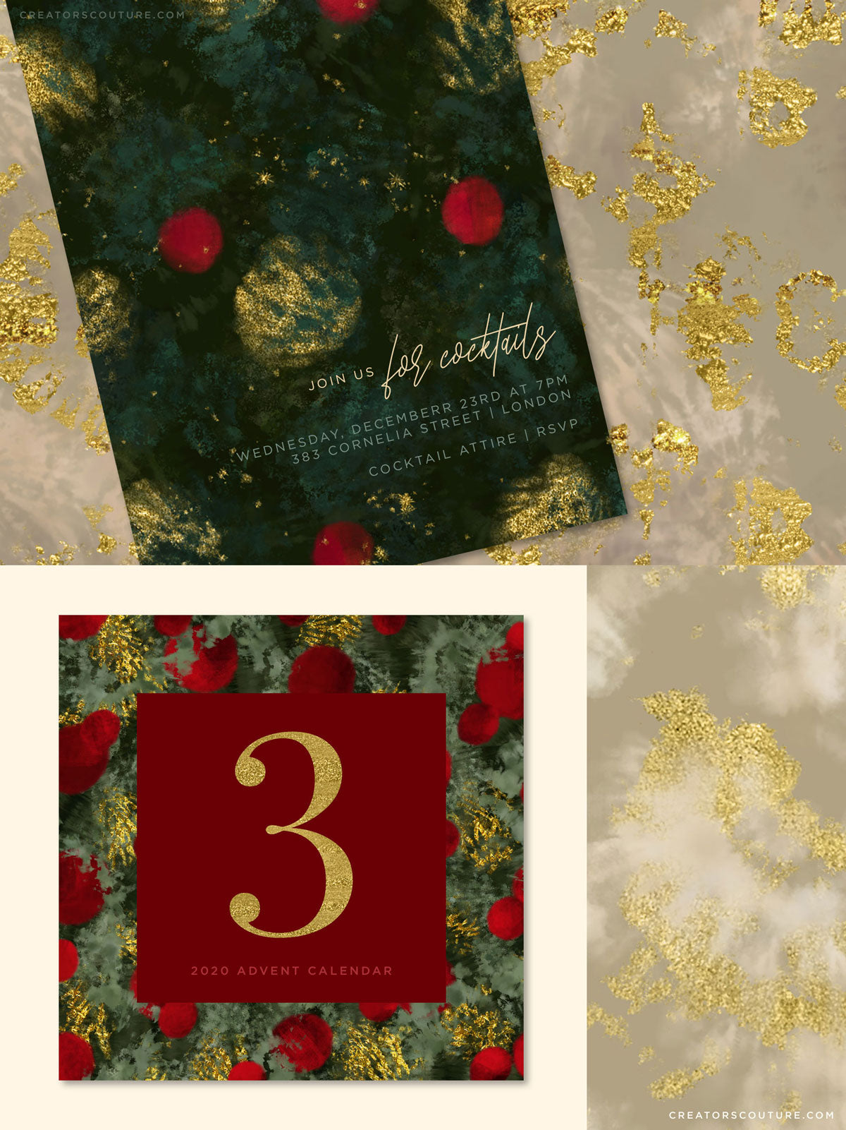 luxe christmas holiday painted backgrounds, card design, social media advent graphic