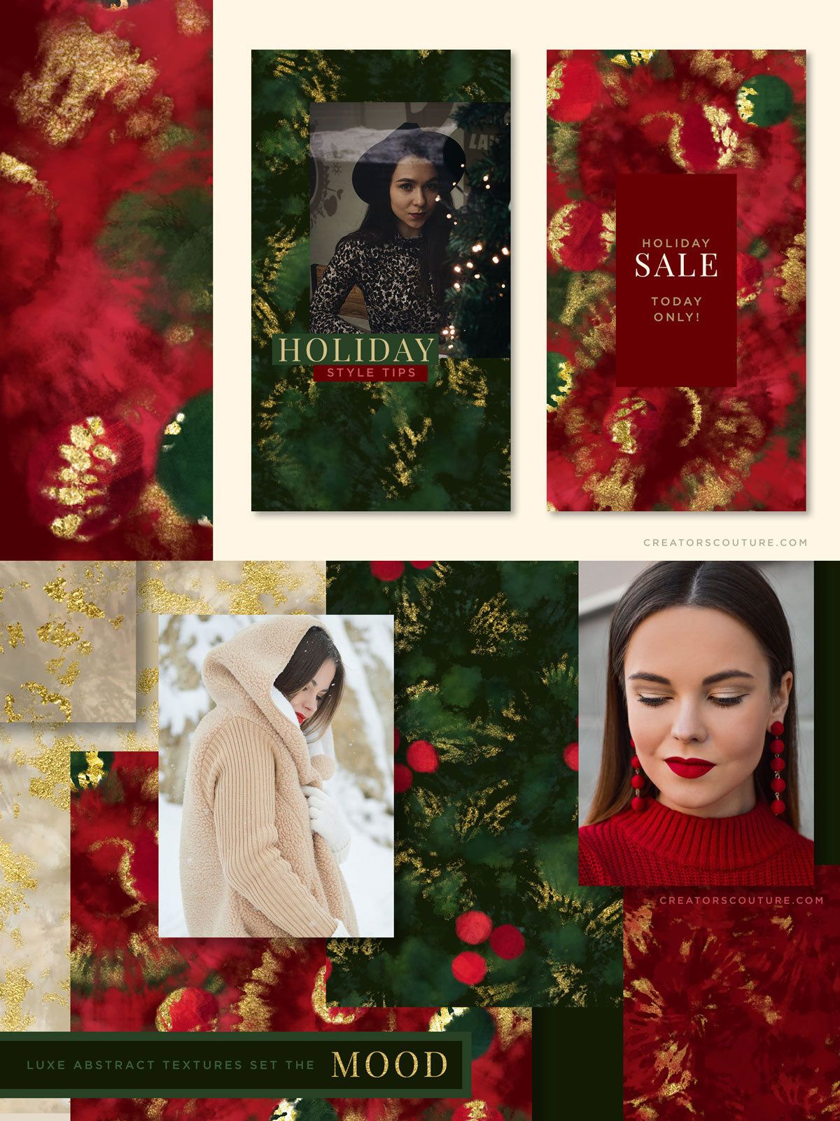 luxe christmas holiday painted backgrounds, social media graphics and mood board design