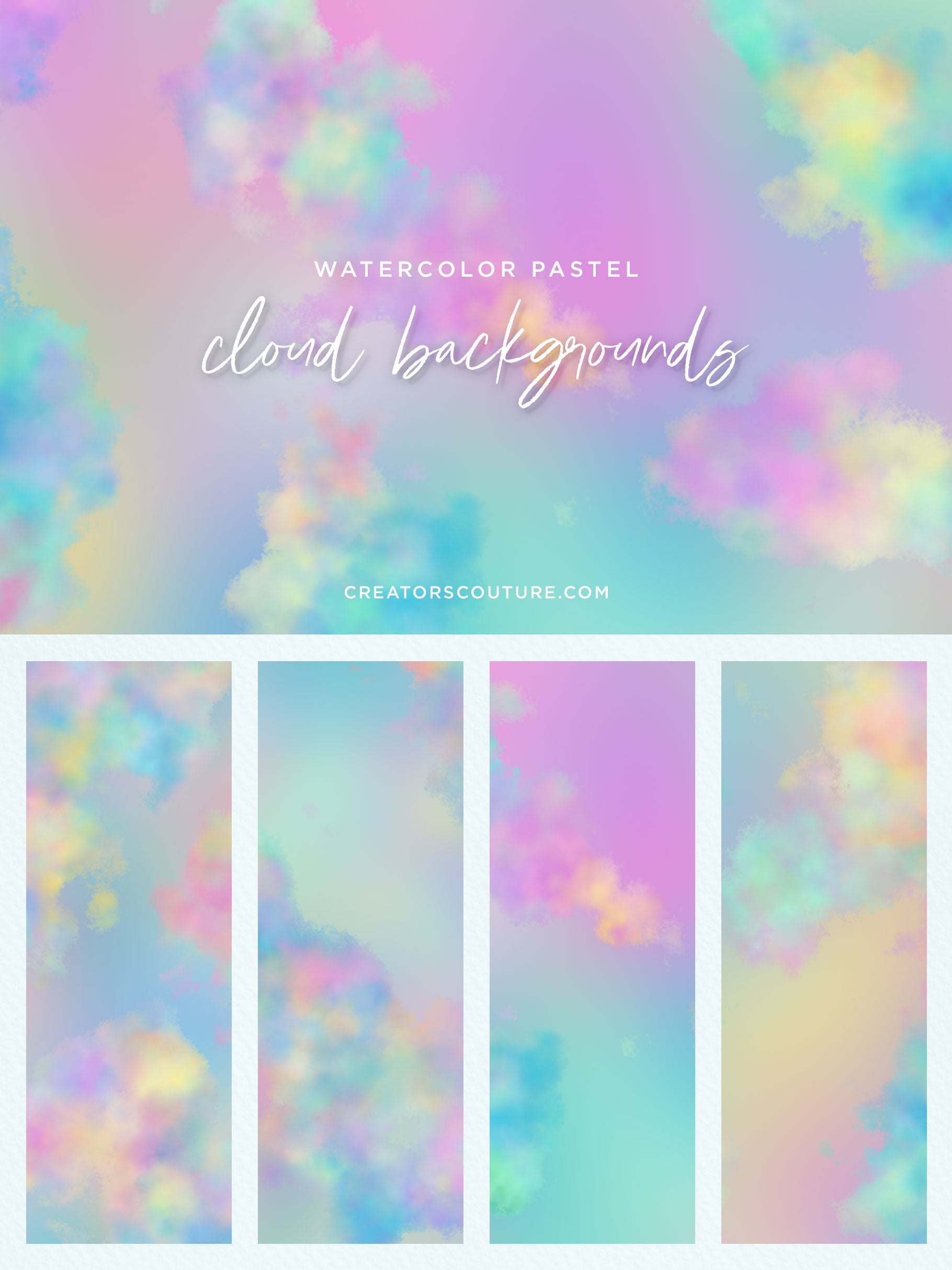 pastel watercolor clouds background clipart