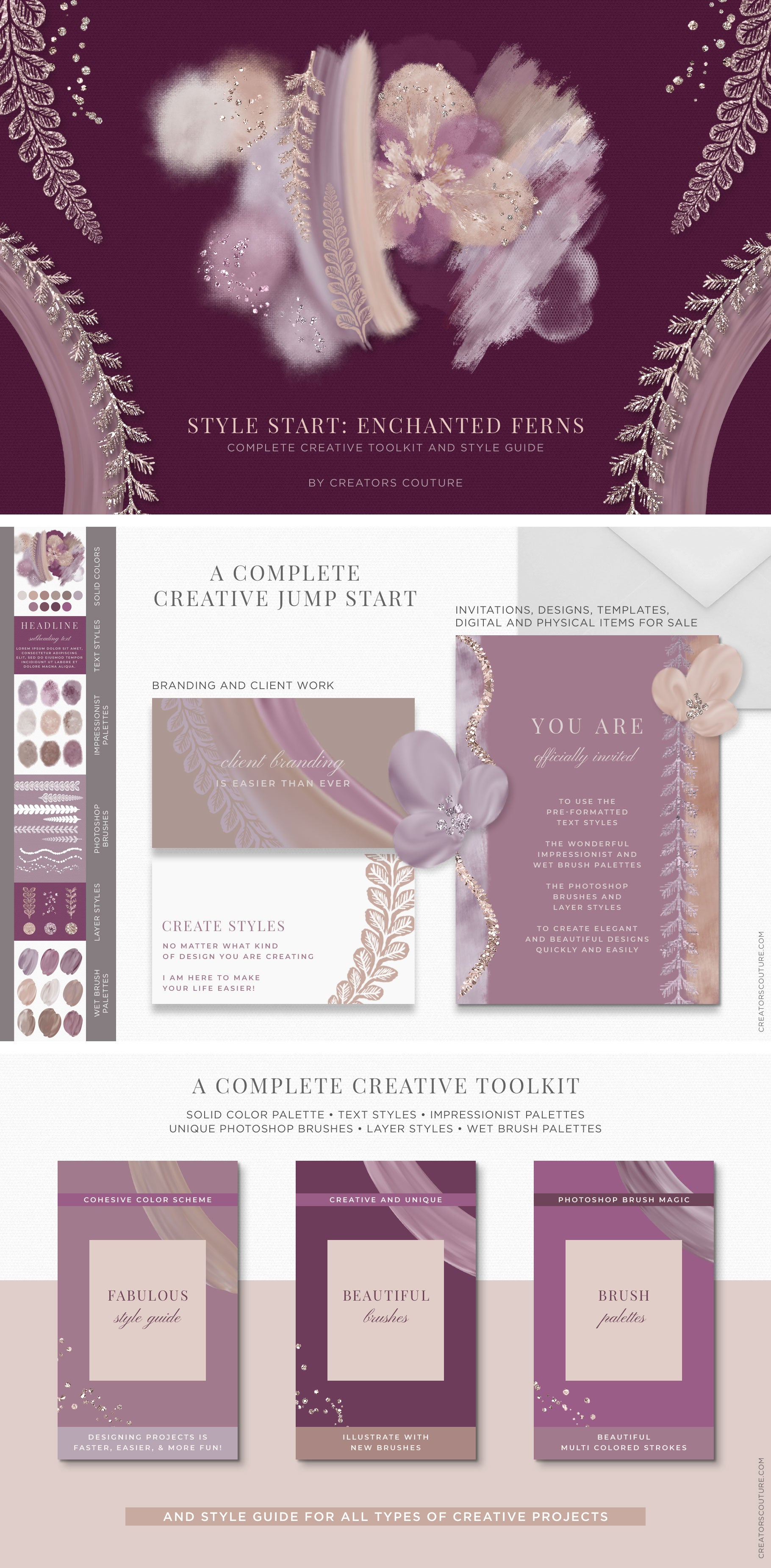 creative kit, style guide, brand board inspired by Marchesa