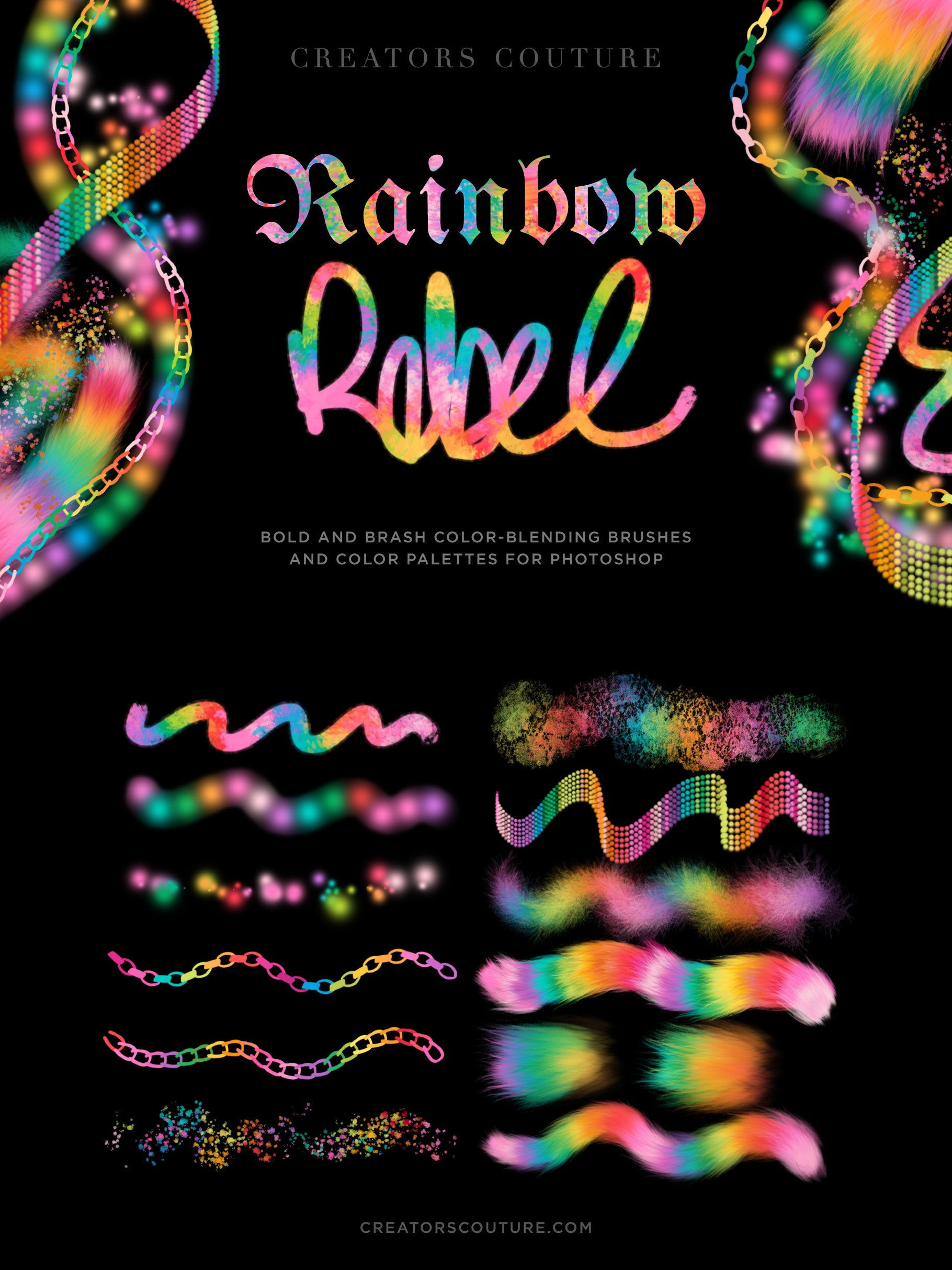 rainbow color-blending Photoshop brush and color palette preview