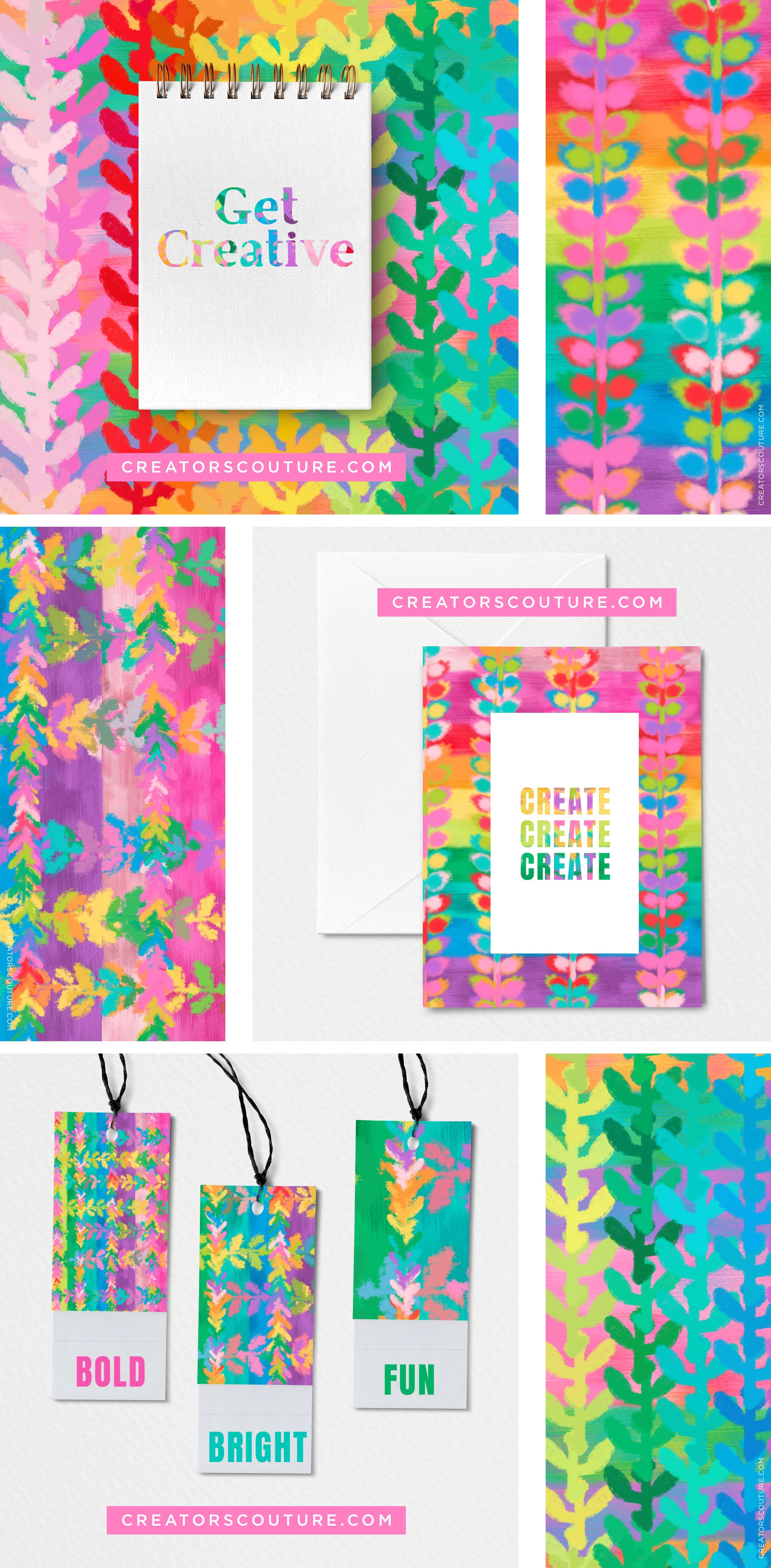 rainbow vine pattern art licensing