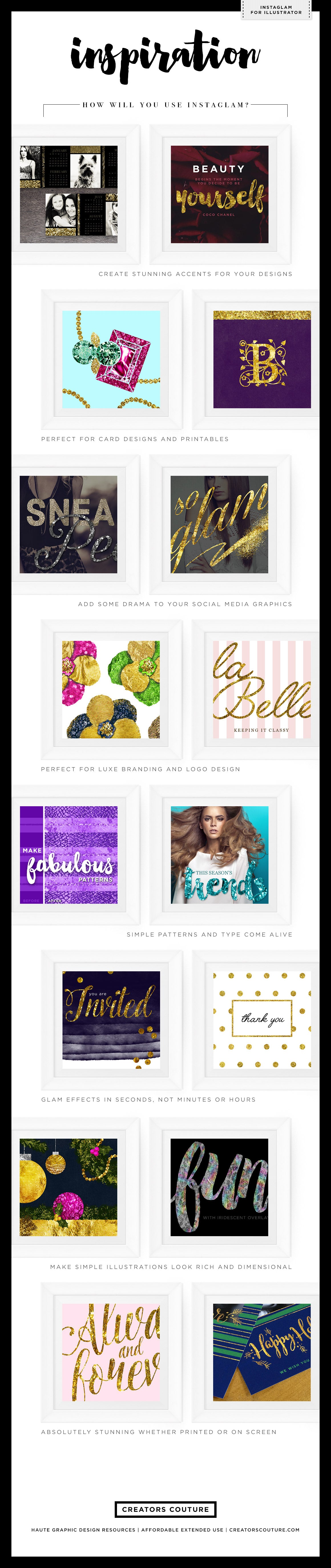 Gold Foil & Metallic Gold Styles & Textures: InstaGLAM for Illustrator, ways to use the metallic gold styles