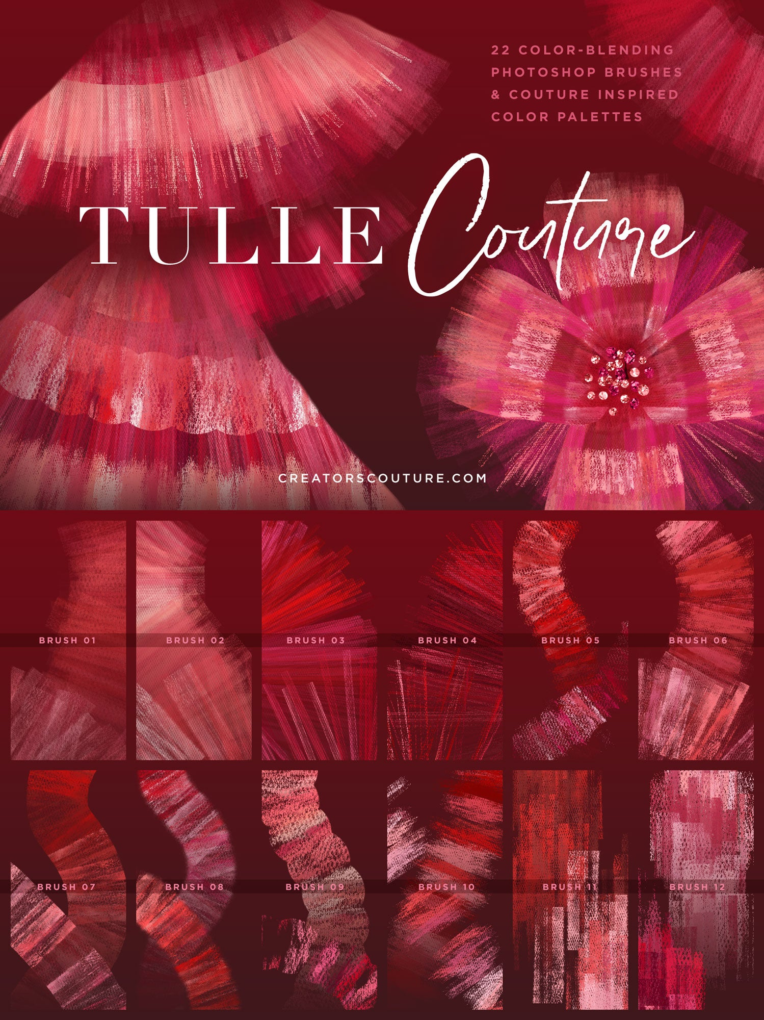 Tulle and organza couture multi-color Photoshop brushes, runway inspired