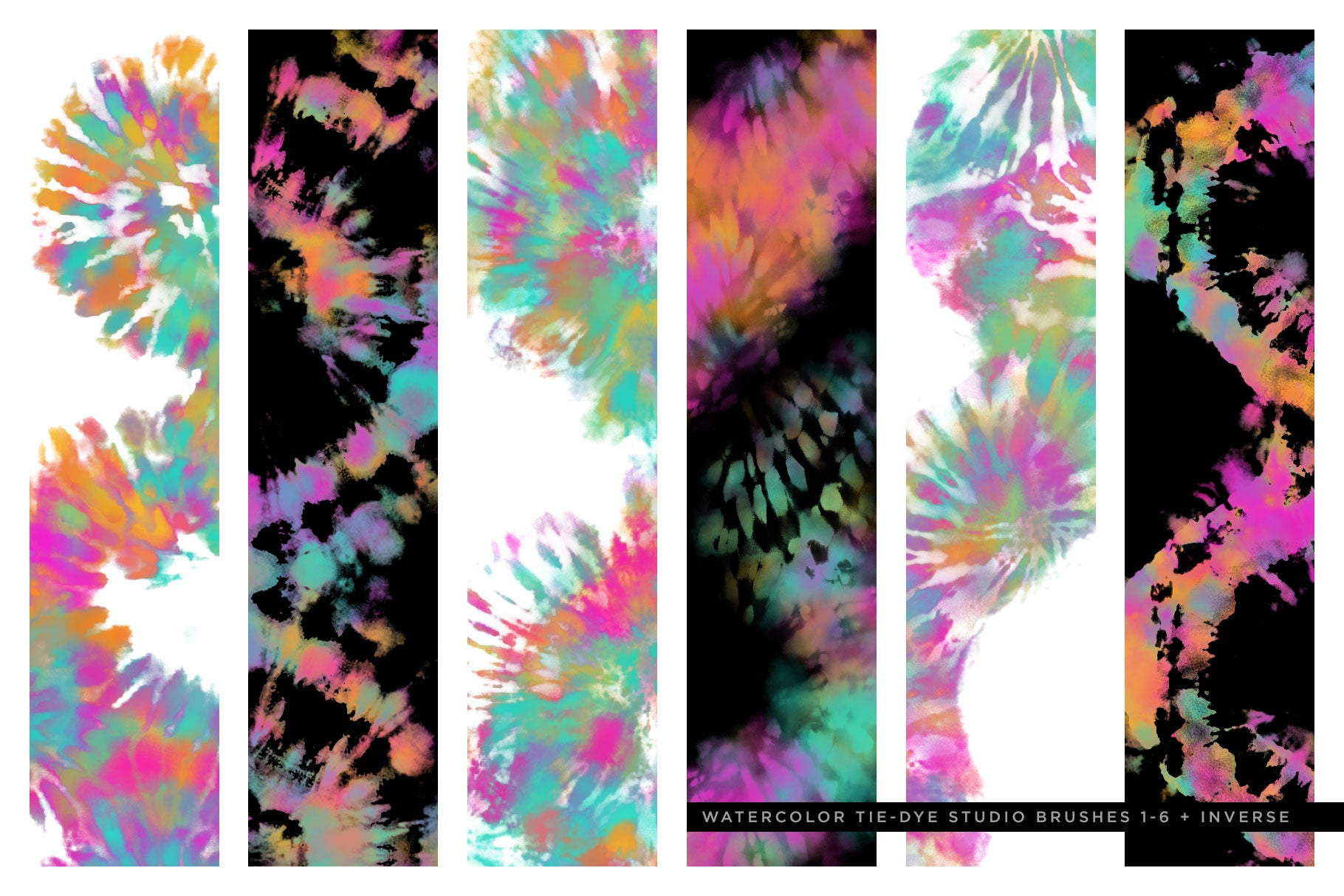 tie-dye multi-color photoshop brushes brush preview 2