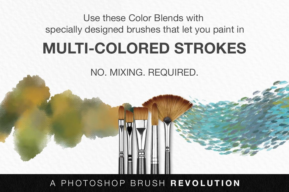 Impressionist Masters Color Blends Palette Collection & Photoshop Brush Sampler, brush stroke demo