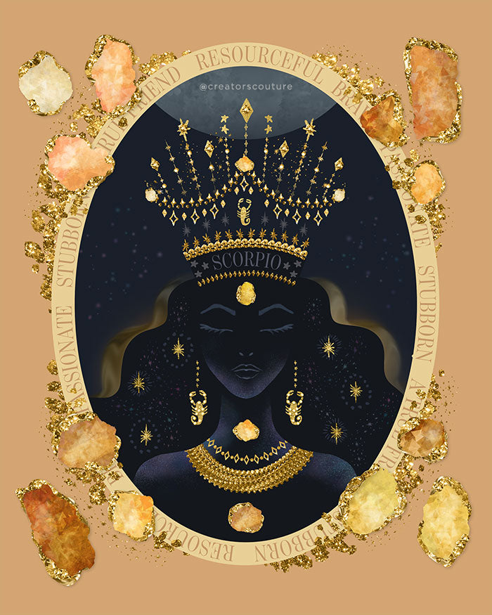 Zodiac Queen | Luxe Birthstone Printable Art | Digital Download
